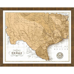 Wood Framed Old Map of Texas