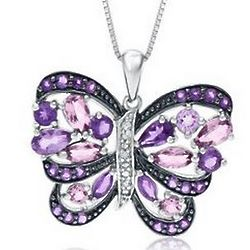 Round and Marquise Amethyst Butterfly Sterling Silver Pendant