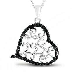 Black Diamond Heart Love Pendant in .925 Sterling Silver