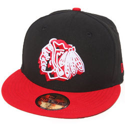 Men's Black Chicago Blackhawks Neon Logo Pop Fitted Hat