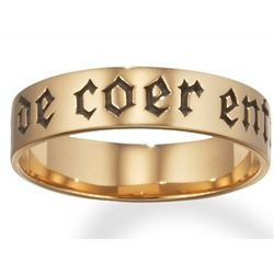 14k Gold 'A Ma Vie De Coer Entier' French Poesy Ring