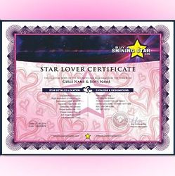Name A Star Lover Standard Certificate