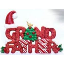 Personalized Glitter Grandfather Christmas Tree Ornament