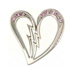 Unmended Broken Heart Pendant with Pink Cubic Zirconias