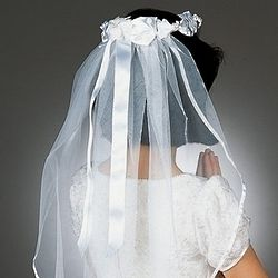 First Communion Veil with White Ribbon