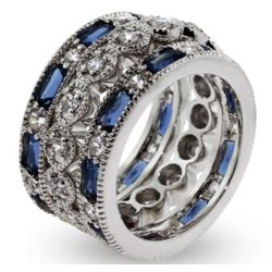 Three Band Sapphire CZ Stackable Ring