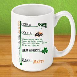 Personalized Irish Coffee Recipe Mug
