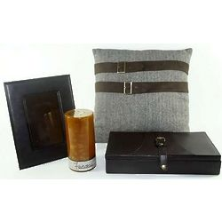 His Pillow, Black Box, Candle, and Picture Frame Gift Set