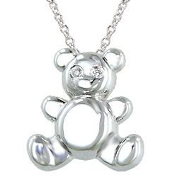 Sterling Silver Teddy Bear Diamond Pendant