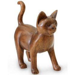 Guardian Cat Wood Sculpture