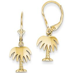 Shiny 14k Gold Palm Tree Earrings with Leverbacks