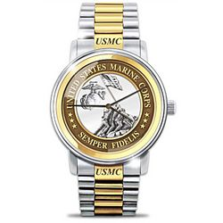 Men's Personalized USMC Semper Fi Stainless Steel Watch