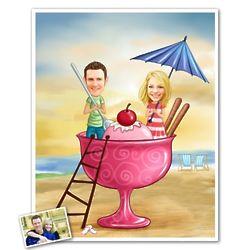Couple's Personalized Ice Cream Caricature Art Print