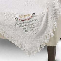 Personalized White Heart 50th Anniversary Throw