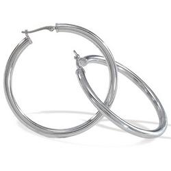14k White Gold Large Hoop Earrings