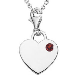 Garnet Solitaire Movable Heart Charm Pendant in Silver