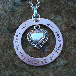 Love is the Beauty of the Soul Hand Stamped Necklace