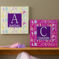 Personalized Alphabet Name Canvas Art for Girls