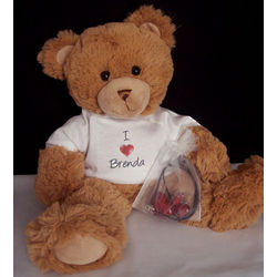 Personalized Teddy Bear with Glass Heart Pendant and Earrings