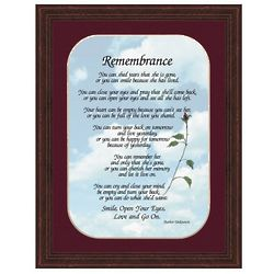 Remembrance Rose Poem in Mahogany Burl Frame