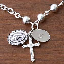 Personalized Prayerful Sterling Silver Rosary Bracelet