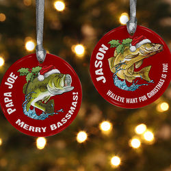 Personalized Fisherman Christmas Ornament