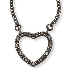 Black Diamond Heart Necklace