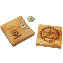 Reclaimed Bike Gear & Wood Bottle Opener Coaster
