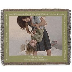 Landscape Mom Photo Blanket with Green Border
