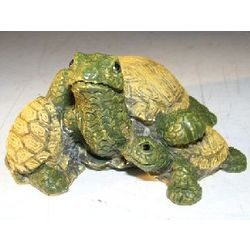Two Baby Turtles Climbing on Parent's Back Figurine