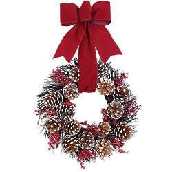Red Velvet Pine Cone Wreath