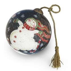 Hand-Painted Snowman on Peppermint Skates Christmas Ornament