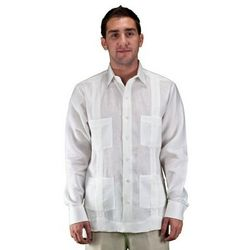 Long Sleeve White Guayabera Wedding Shirt