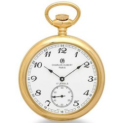 Polished Gold Open Faced Mechanical Pocket Watch and Chain