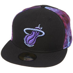 Men's Black Miami Heat Space Midder Fitted Cap