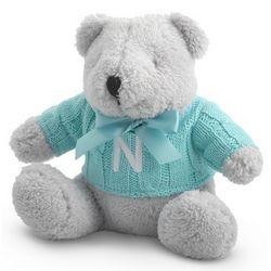 Personalized Aqua Knit Sweater Teddy Bear Stuffed Animal