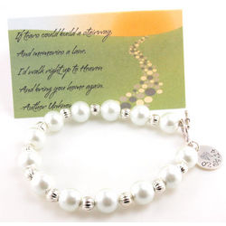 Personalized Angel Wings White Pearl and Silver Beaded Bracelet