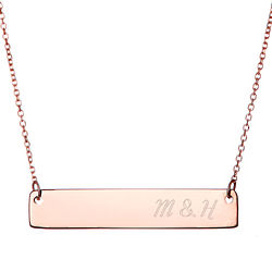 Couple's Personalized Initials Rose Gold Bar Necklace