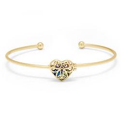 Locket Heart 4 MM Round Birthstone Gold Cuff Bracelet