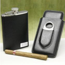 Black Leather Flask and Cigar Case Set