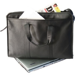 """Soft-Sided 17"""" Leather Laptop Briefcase"""
