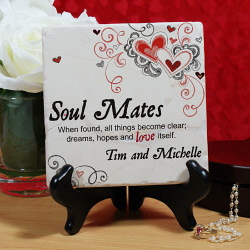 Soul Mates Personalized Tuscon Stone with Easel