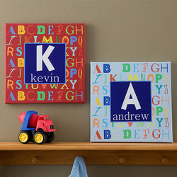 Personalized Alphabet Name Canvas Art for Boys