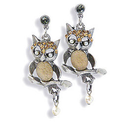 Woodland Owl Pewter and Crystal Earrings