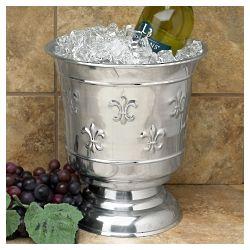 Fleur de Lis Polished Wine Chiller