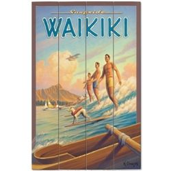 Waikiki Wood Plank Sign