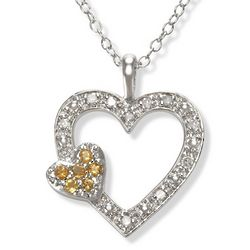 Sterling Silver Citrine and Diamond Heart Necklace