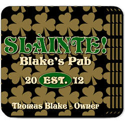 Personalized Field of Clover Coasters