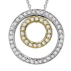 Sterling Silver and Gold Diamond Circle Pendant