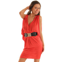 Red Draped Cocktail Dress